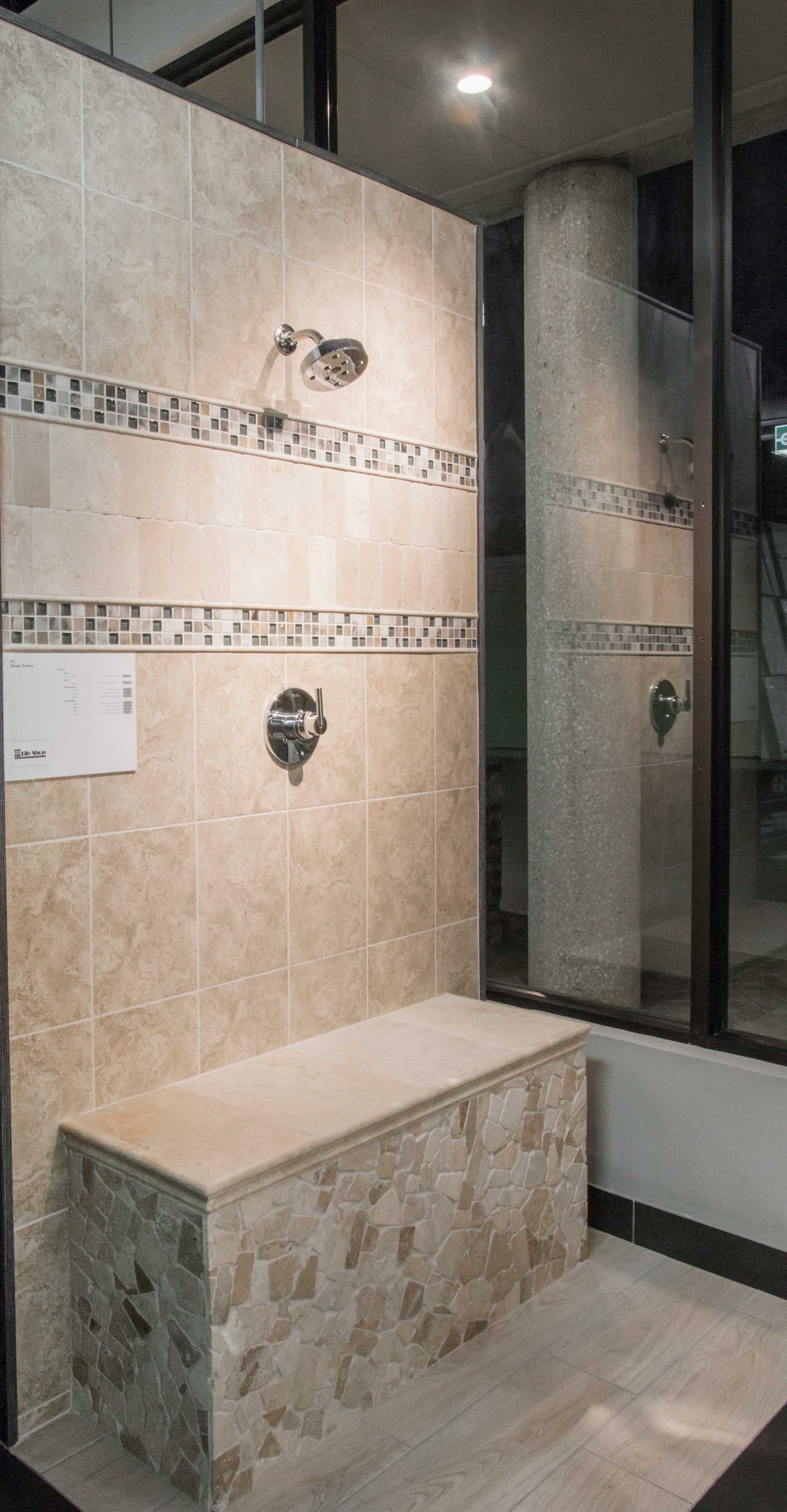 light brown and ivory hued bathroom wall tile  grecia