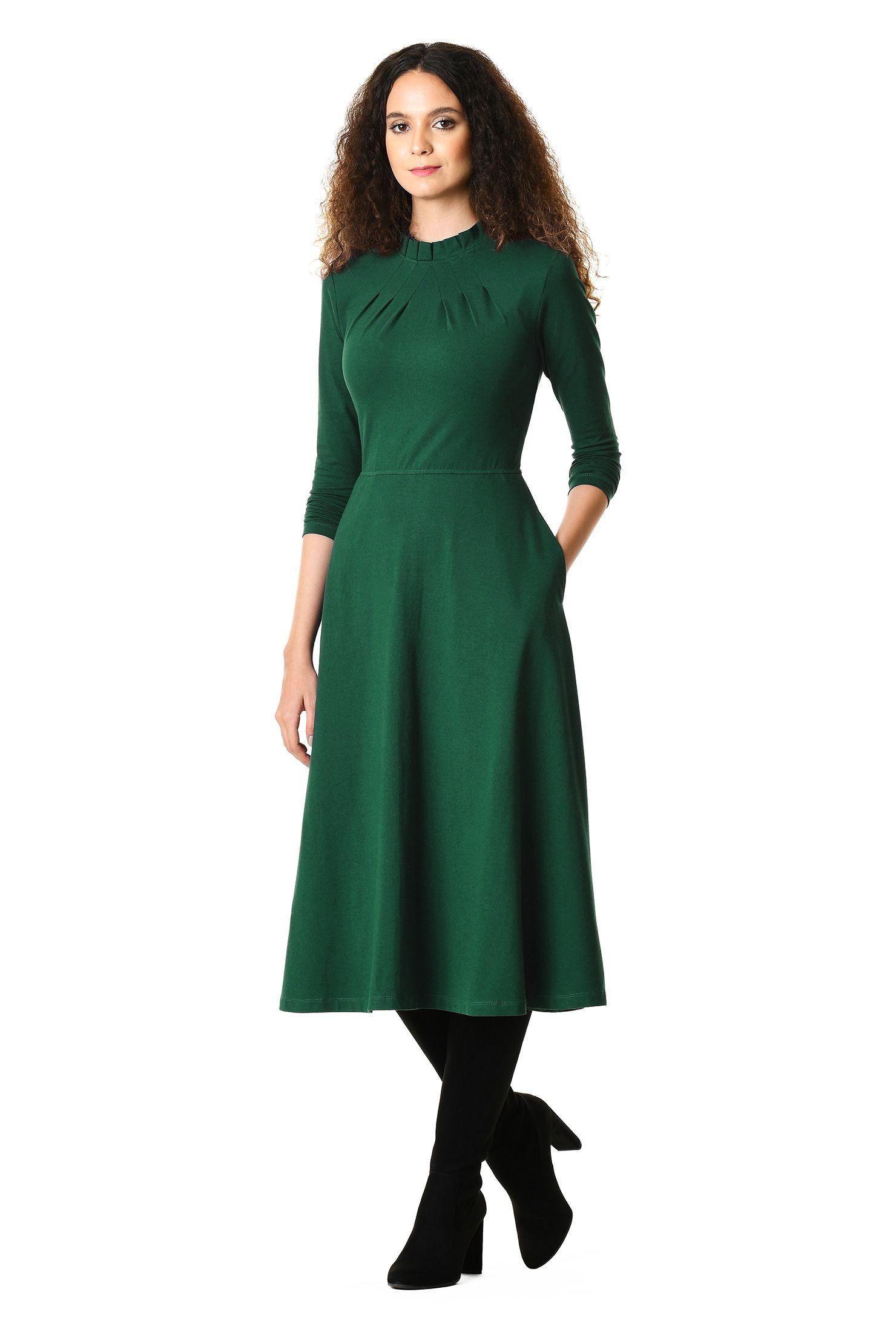 A Line Dresses Bracelet Length Sleeve Dresses Cotton Knit Dresses