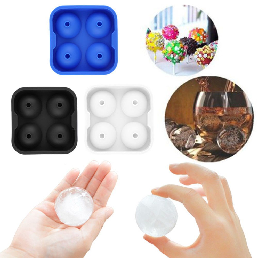 Four sphere molds round ice balls maker tray bar home