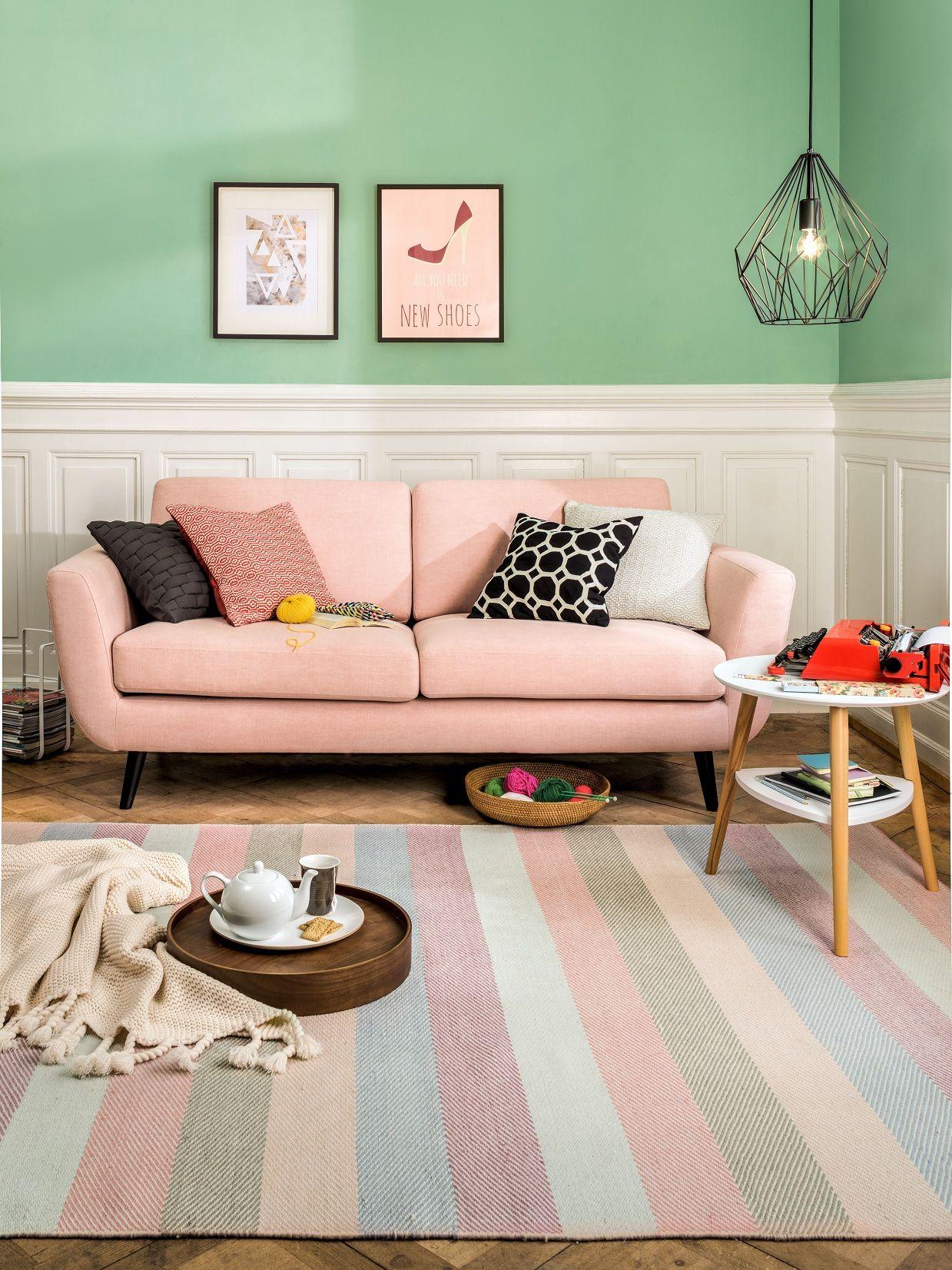 micasa wohnzimmer mit seidel hellrosa und teppich dorothea micasa wohnen. Black Bedroom Furniture Sets. Home Design Ideas