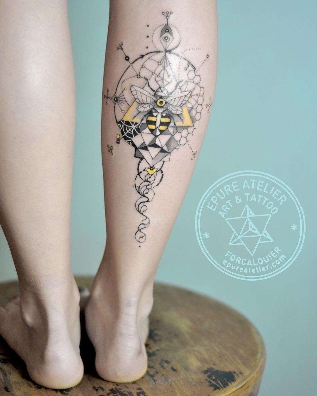 Bee Beetattoo Geometry Ink Tattoo Epureatelier Marieroura Finelinetattoo