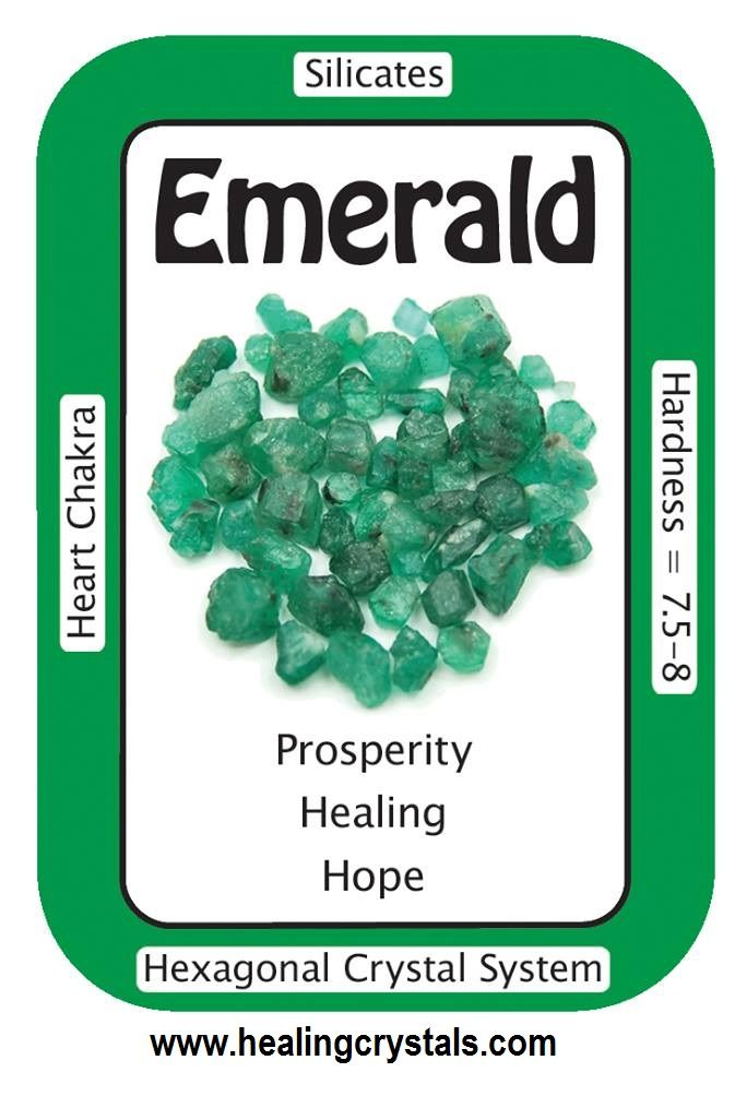 """Emerald, """"I focus on prosperity and the Universe provides abundance.""""  Emerald is associated with the Heart Chakra and with blissful love.  Code HCPIN10 = 10% discount  www.healingcrystals.com/advanced_search_result.php?dropdown=Search+Products...&keywords=emerald  www.healingcrystals.com/Crystal_Information_Cards___Oracle_Decks_1__2_and_3.html"""