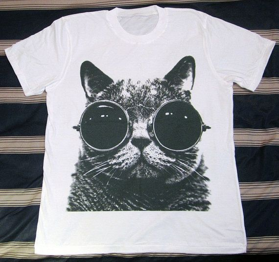 CAT Glasses TShirt  Cat TShirt Cat Shirt Animal by panoTshirt, $17.00
