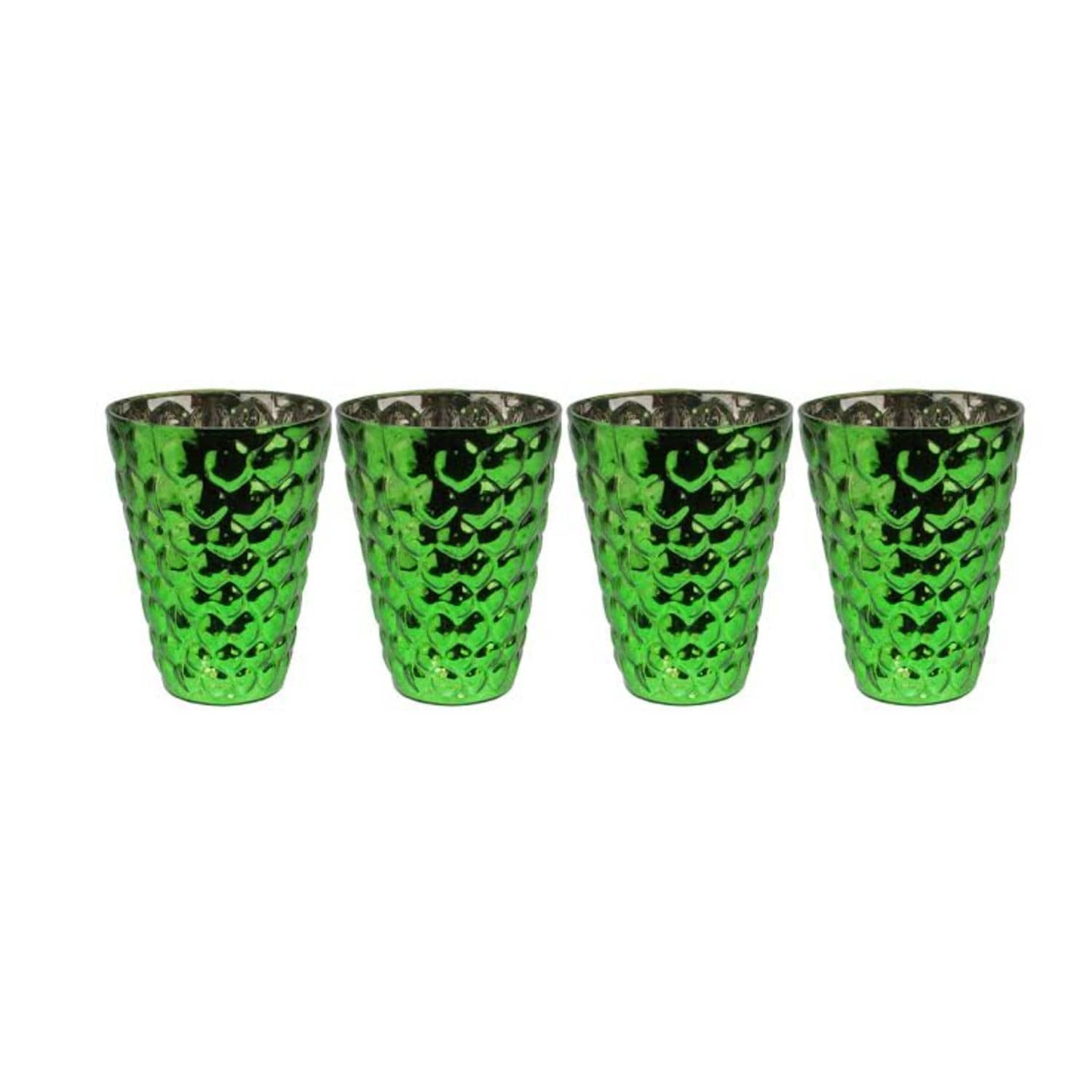 Set of green and silver textured mercury glass decorative votive