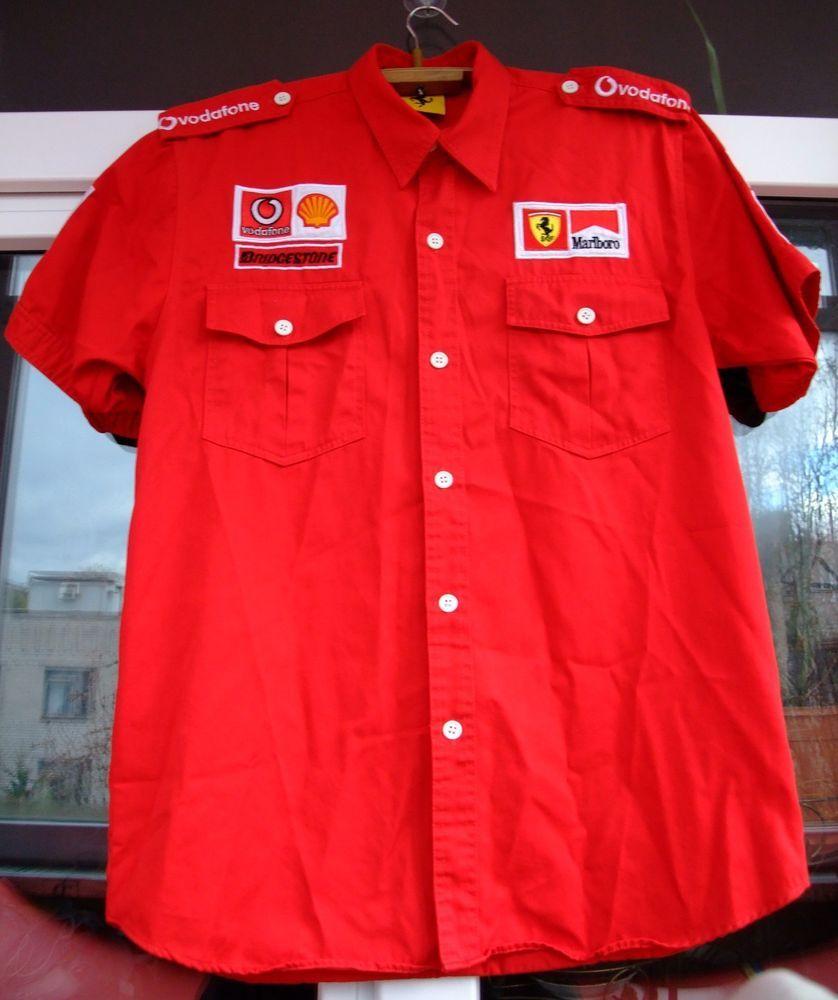 Ferrari Red 1996 F1 Team Marlboro Vodafone Shell Vintage Shirt L Embroidered Vintage Shirts Shirts Embroidered