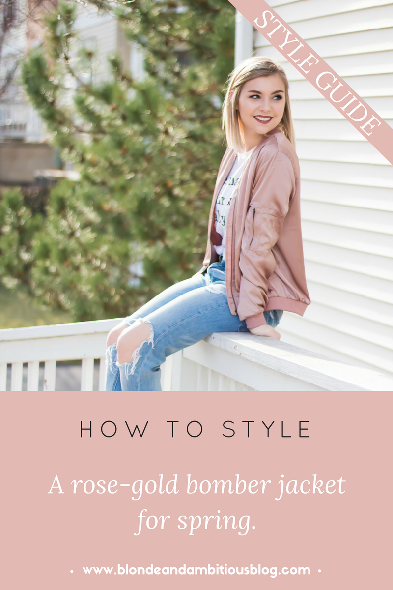 How to style a bomber jacket for SPRING! | bomber jacket, bomber jacket for women, bomber jacket outfit pink, bomber jacket outfit casual