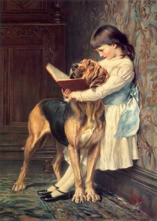 girl and dog reading