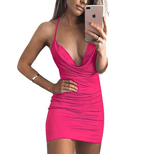 Women s Sexy Deep V-Neck Halter Backless Slit Mini Party Club Dress ccb7c464c