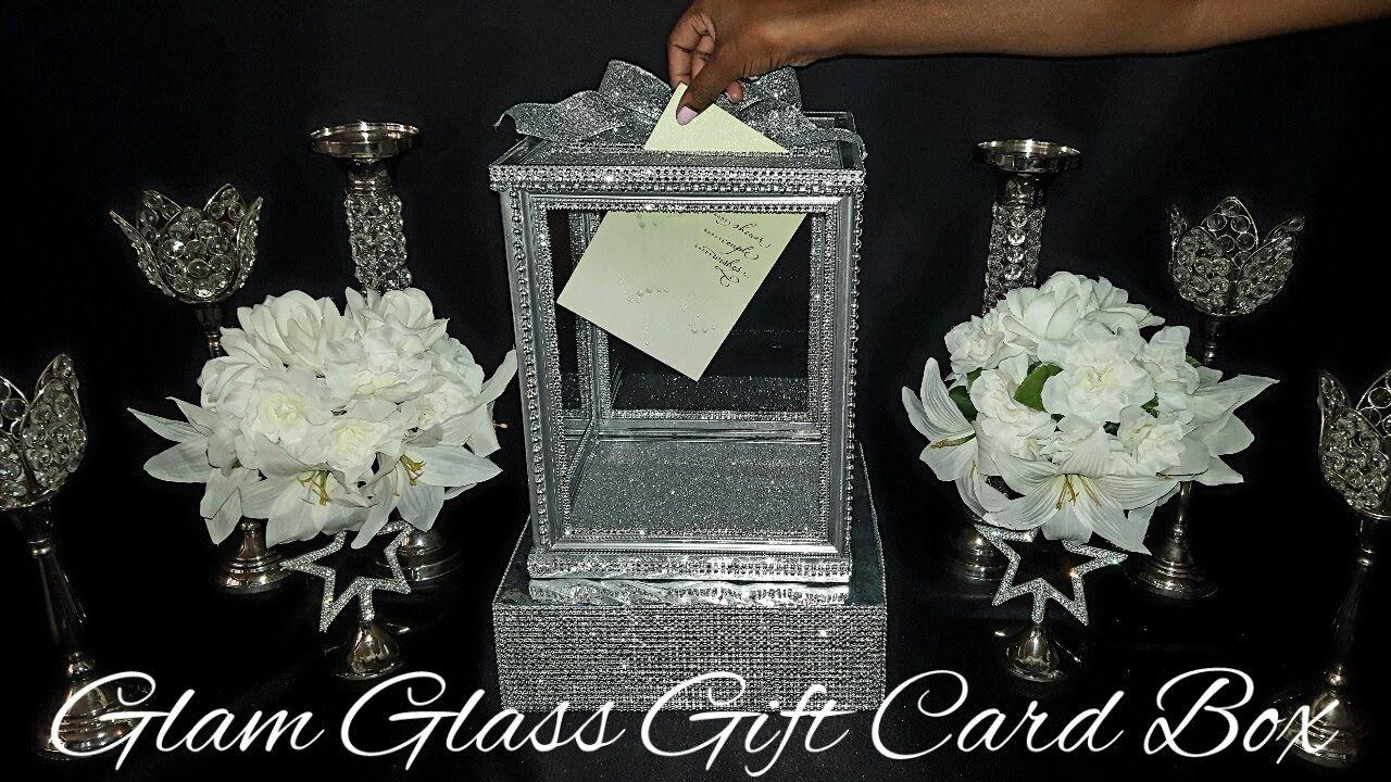 Diydollar tree glam glass wedding gift card box wedding ideas