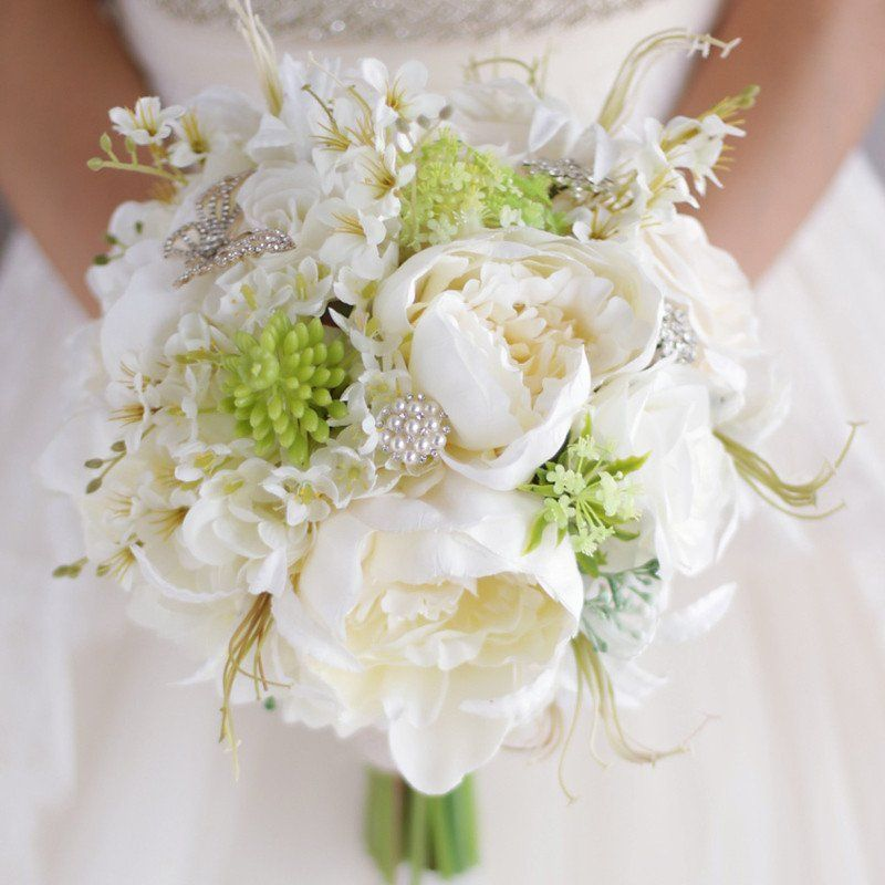 Ivory White & Green Silk Flowers Wedding Bridal Bouquet