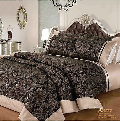 STYLISH-JACQUARD-DESIGN-QUILTED-BEDSPREAD-CURTAINS-DUVET-SET-DOUBLE-SIZE