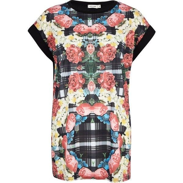 River Island - Black floral check print embellished t-shirt.