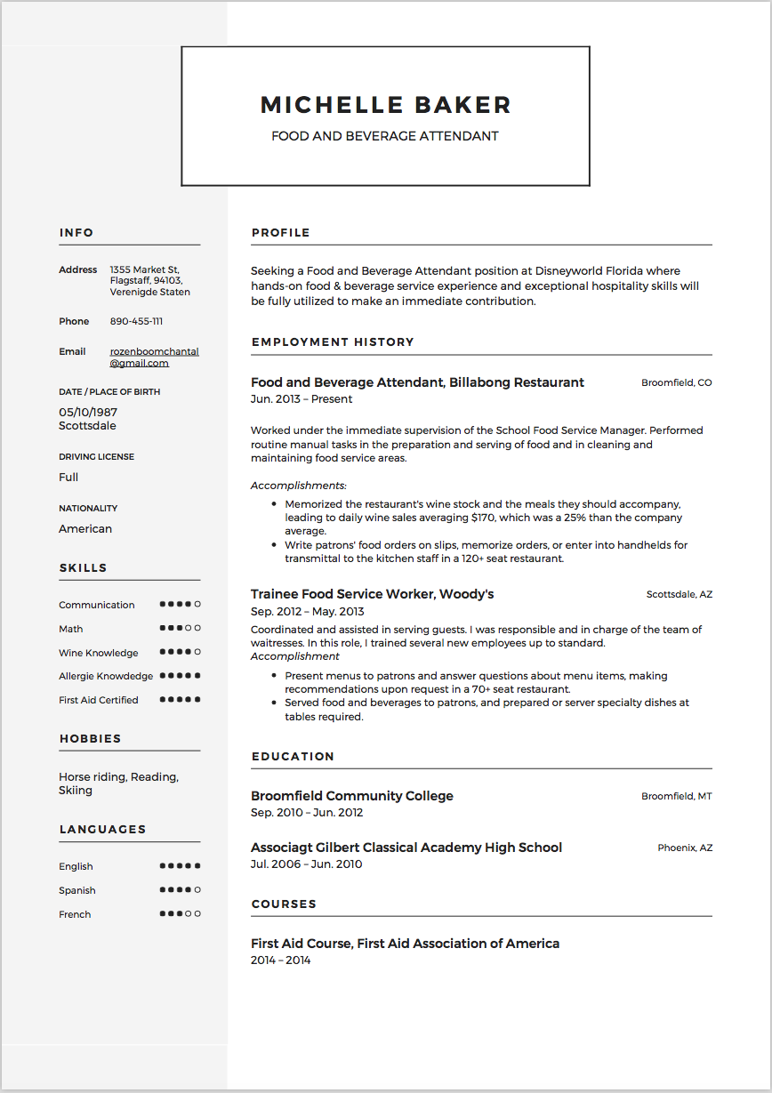 Food And Beverage Attendant Resume Template Example Sample CV