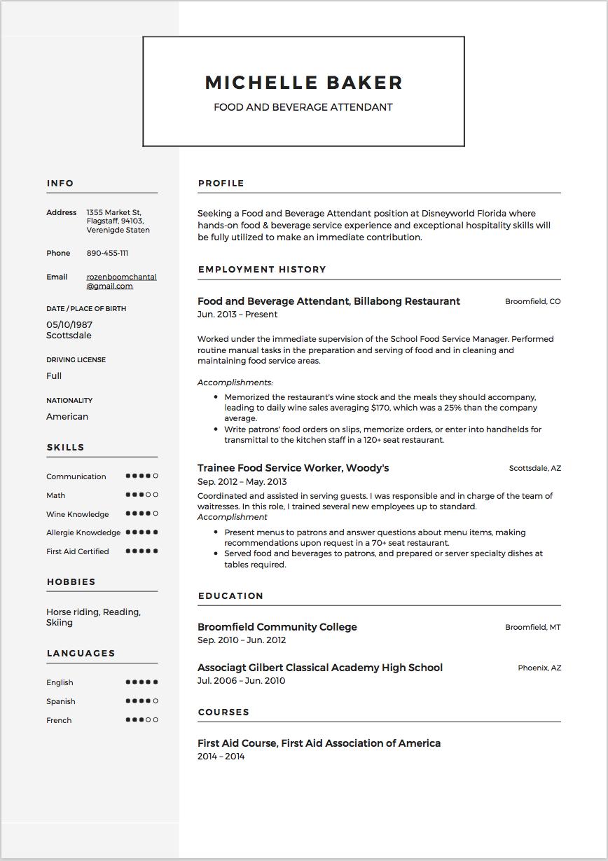 Beverage Attendant Resume Sample