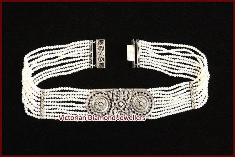 Rose Cut Diamond Pearl Bracelet