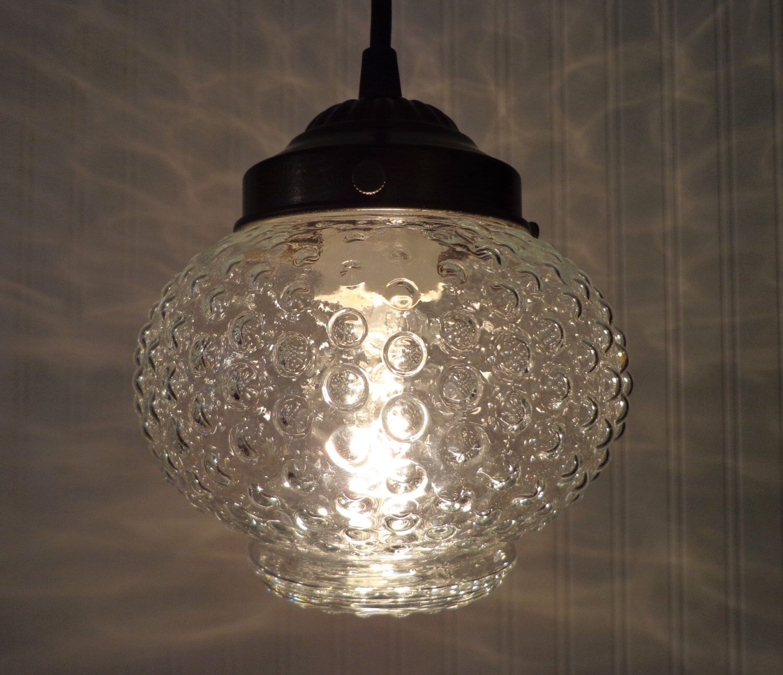 PENDANT Light of Vintage HOBNAIL Globe Kitchen Clear Upcycle