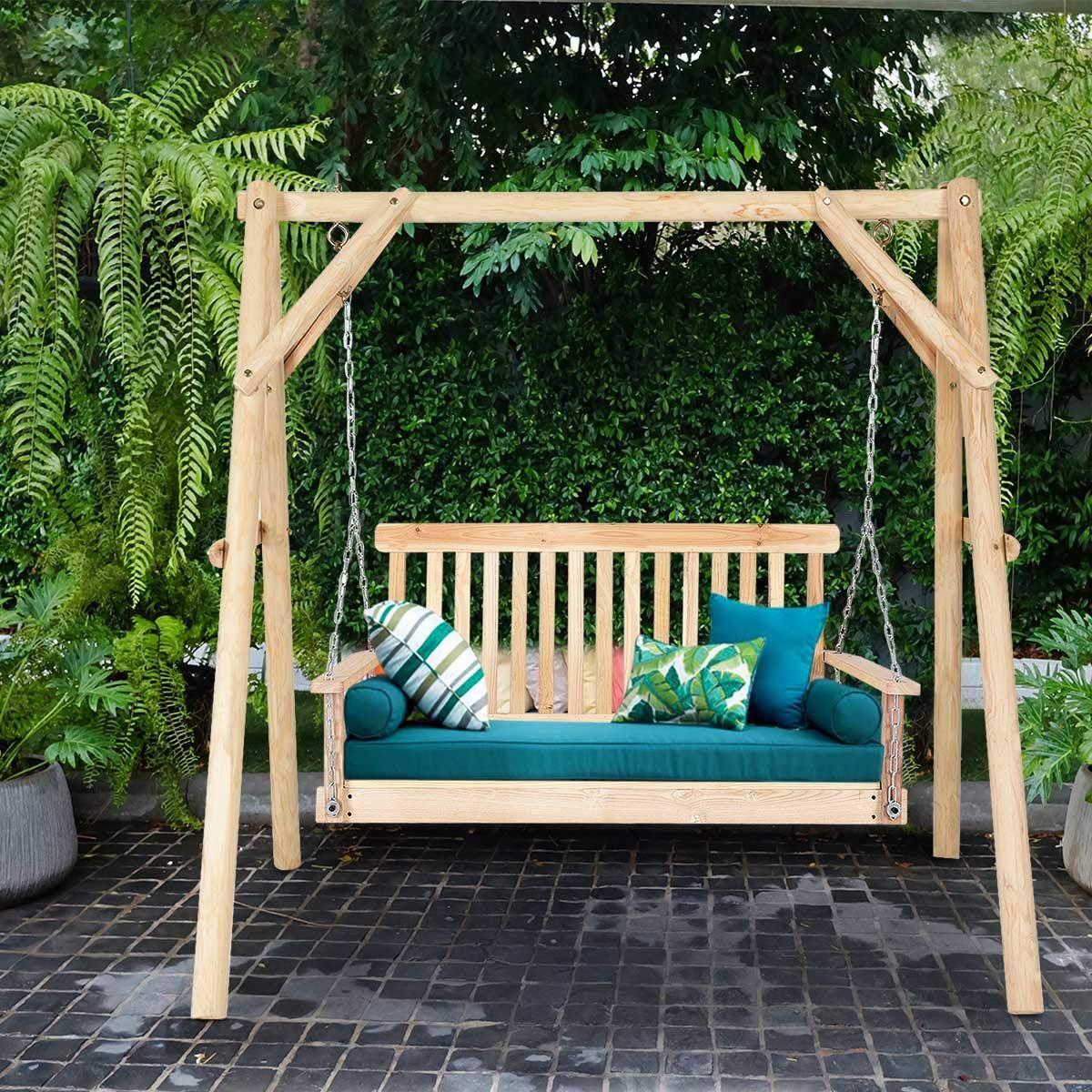 Giantex Natural Wood Garden Swing Seat Patio Hanging Seat