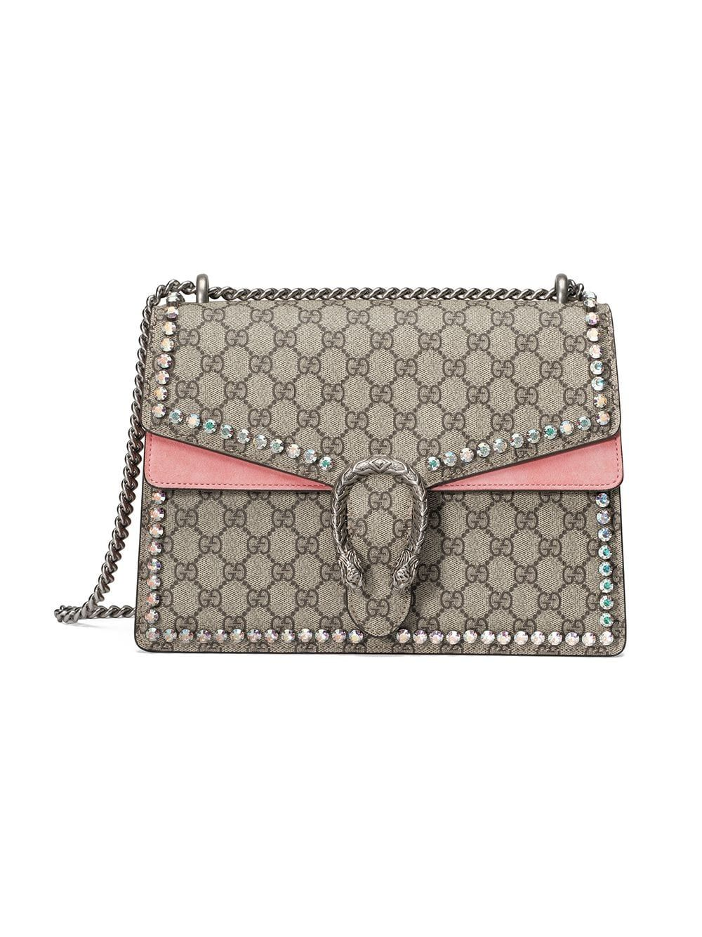 812feff064c Gucci Dionysus GG Supreme Shoulder Bag With Crystals   Style   Gucci ...