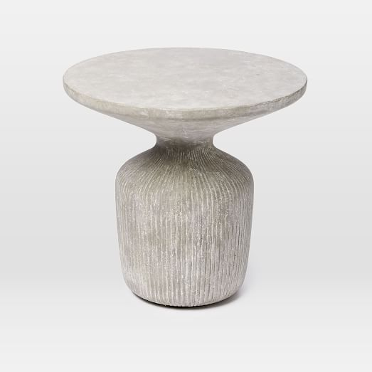 229 190 After Tambor Concrete Outdoor Drum Side Table West Elm 52 Lbs Real 21 Diameter 20 High