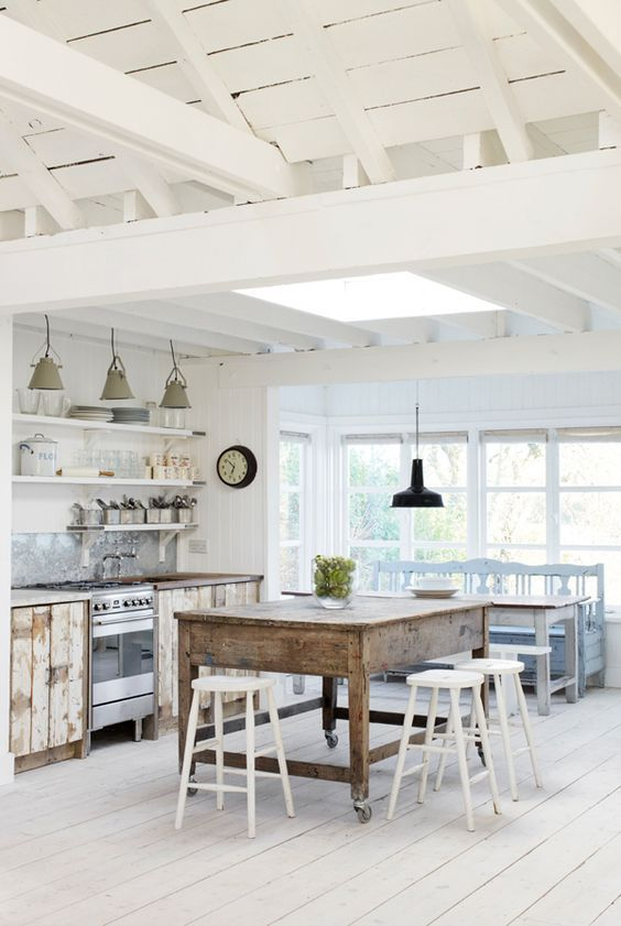 White Kitchen Vaulted Ceiling cottage farmhouse kitchens {inspiring in white} | vaulted ceilings