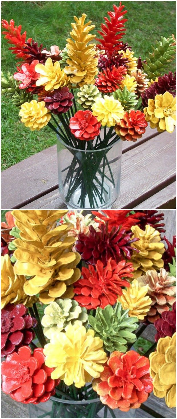 How To Turn Pine Cones Into Lovely Zinnia Flowers #pineconeflowers