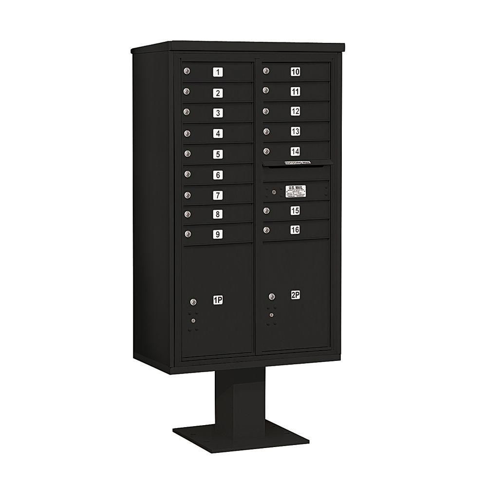 3400 Series 70-1/4 in. 15 Door High Unit Black 4C Pedestal Mailbox with 16 MB1 Doors/2 PL6