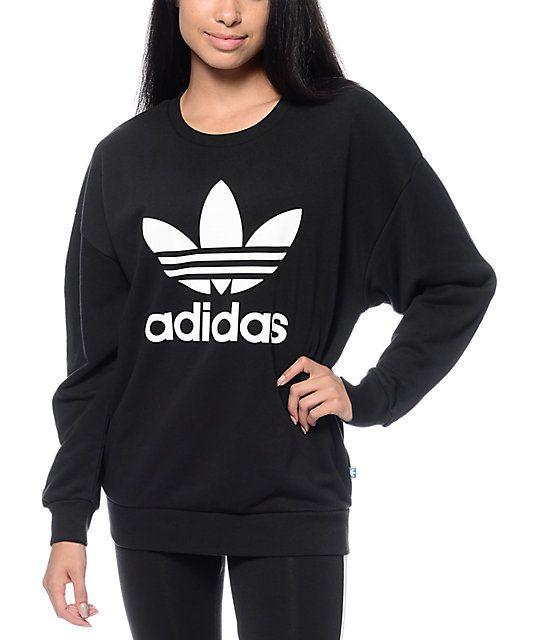 adidas Trefoil Black Crew Neck Sweatshirt | Crew neck sweatshirt ...
