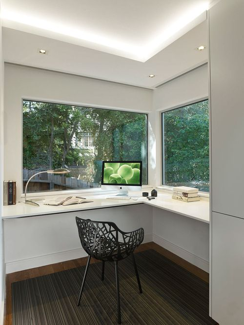 large windows directly in front of the workstation home office designoffice designsmodern - Modern Home Office