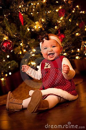 7 month old baby laughing by Christmas Tree on wood floor | family ...