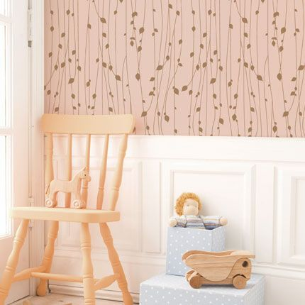 Leaves Pink Peel U0026 Stick Fabric Wallpaper Repositionable   Simple Shapes  Wall Decals, Furniture, And Accessories