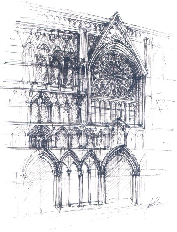 Architecture Sketch Of The Facade Northernmost Medieval Cathedral In Europe