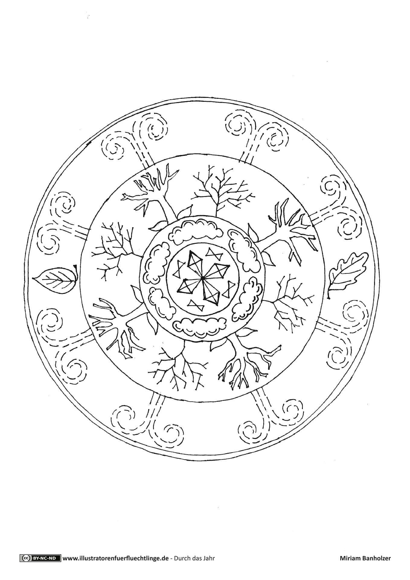 Herbst Mandala   Kleurplaten, Seizoenen, Dieren