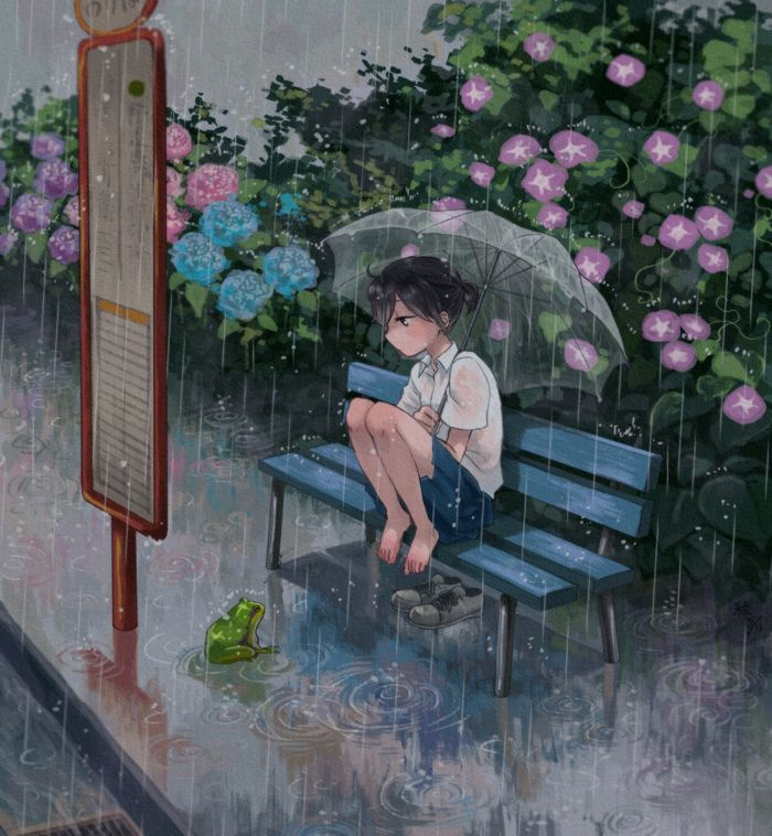 anime girl with umbrella in the rain drawing - Google ...