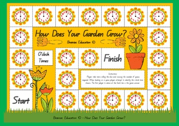 The flowers in this garden are filled with times. As students work their way around the board game they develop their recall of oclock times. Includes  1 board game with instructions for use.