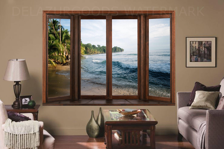 Tropical Island Window View Wallpaper Peel And Stick Etsy Window View View Wallpaper Fresh Contemporary