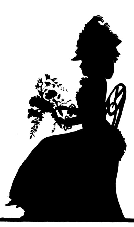 victorian-woman-with-flowers-silhouette.jpg (558×945 ...