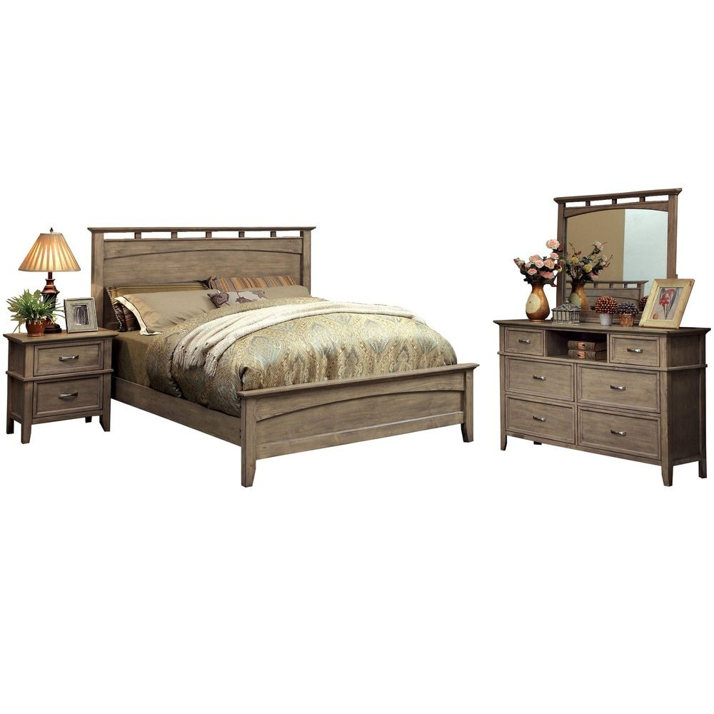 Amazing Furniture Of America Seashore 4 Piece Weathered Oak (Brown) Bed Set (Queen)