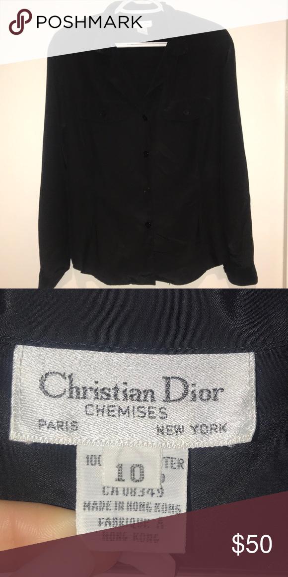 26bee5a30dc12d Silk Christian Dior Long sleeve Dior Tops Button Down Shirts | My ...