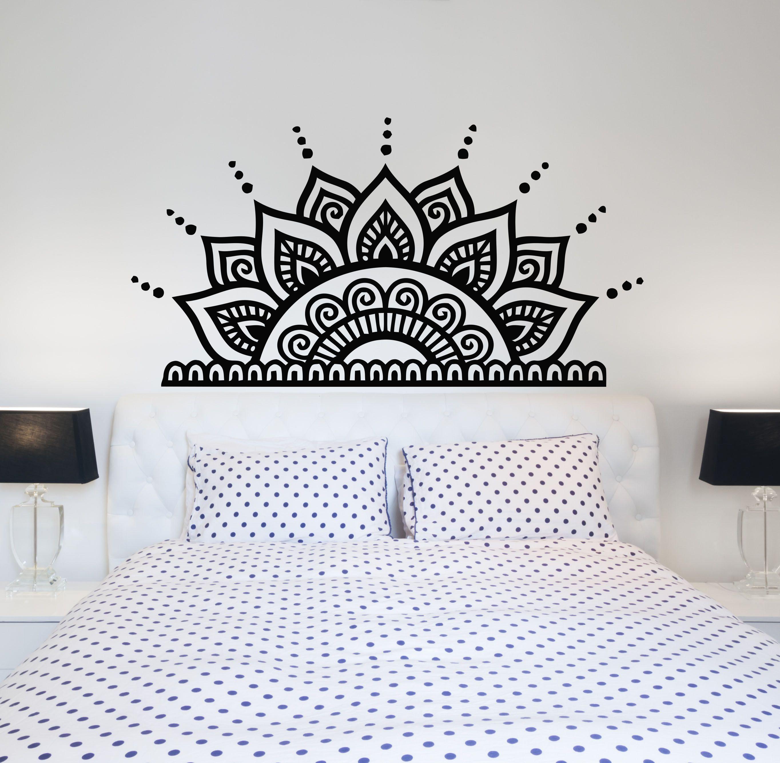 Headboard Wall Decals Bedroom Half Mandala Vinyl Sticker Etsy Wall Decals For Bedroom Bedroom Wall Paint Headboard Wall Decal