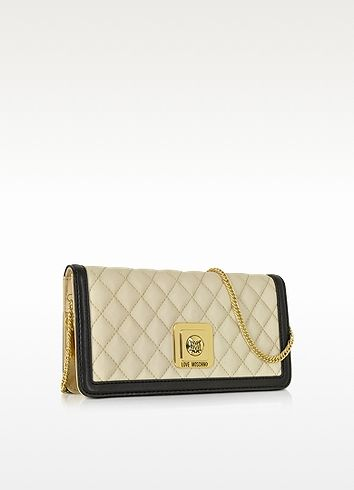 Quilted Eco Leather Clutch w/Chain Strap - Moschino