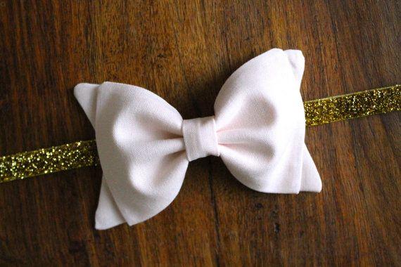 Girls Fabric Bow Headband - Blush Bow with Gold Glitter Elastic $8.00