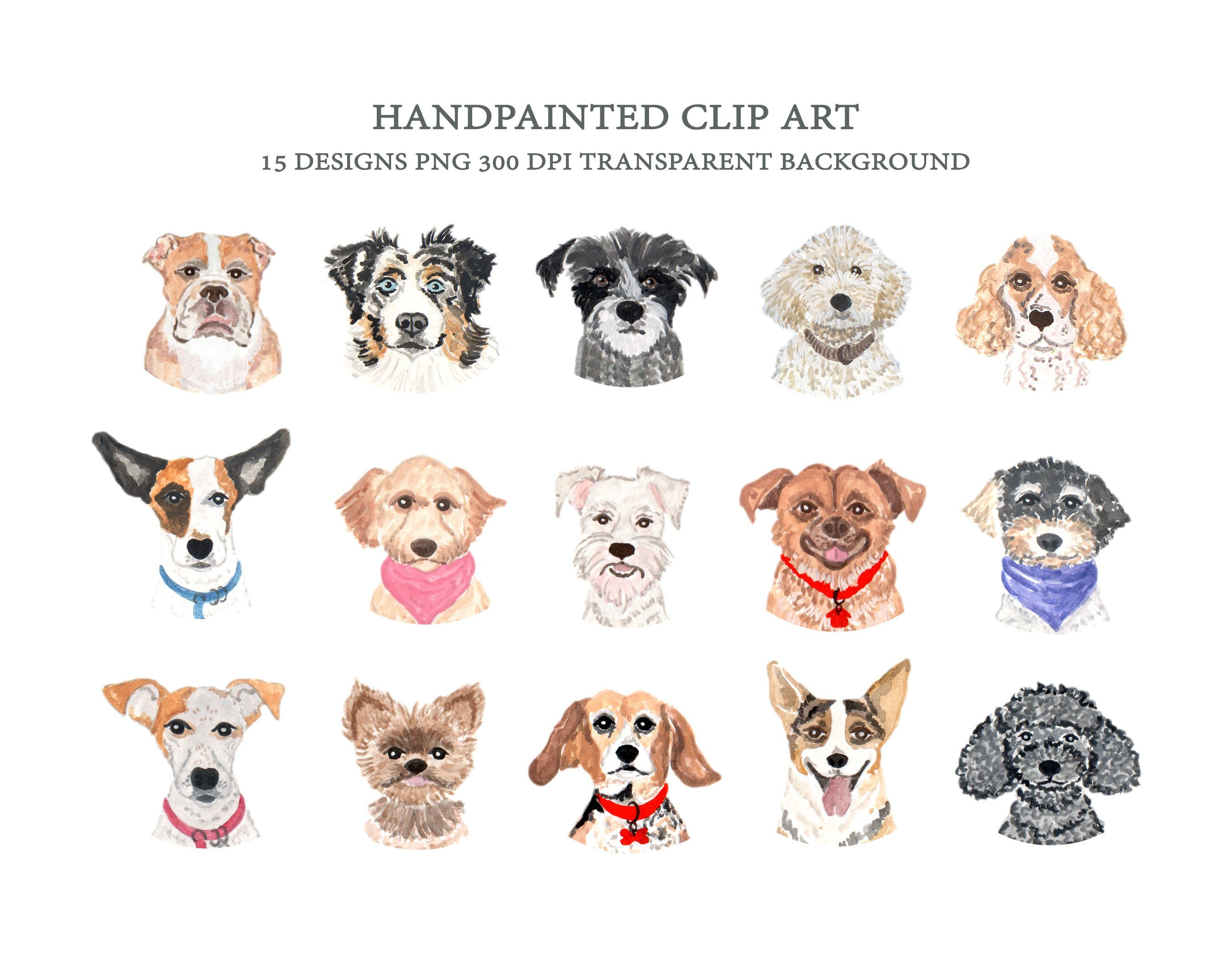 Dog Faces Clip Art Dog Breeds Clipart Watercolor Hand Painted Cute Dog Graphic Dog Different Type Head Icons In 2021 Dog Clip Art Watercolor Dog Animal Clipart