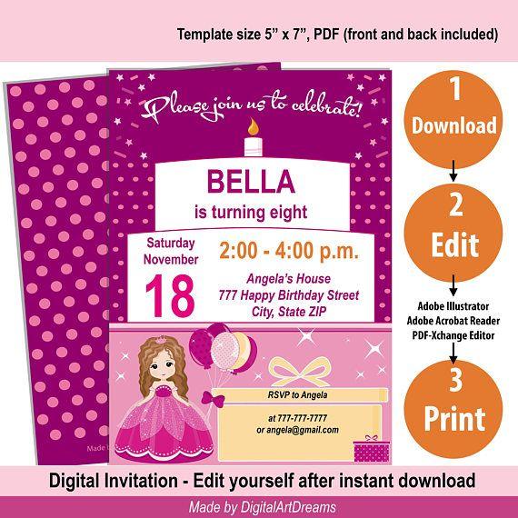 Birthday invitation self editable pdf girl invitations artscrafts birthday invitation self editable pdf girl invitations stopboris Images