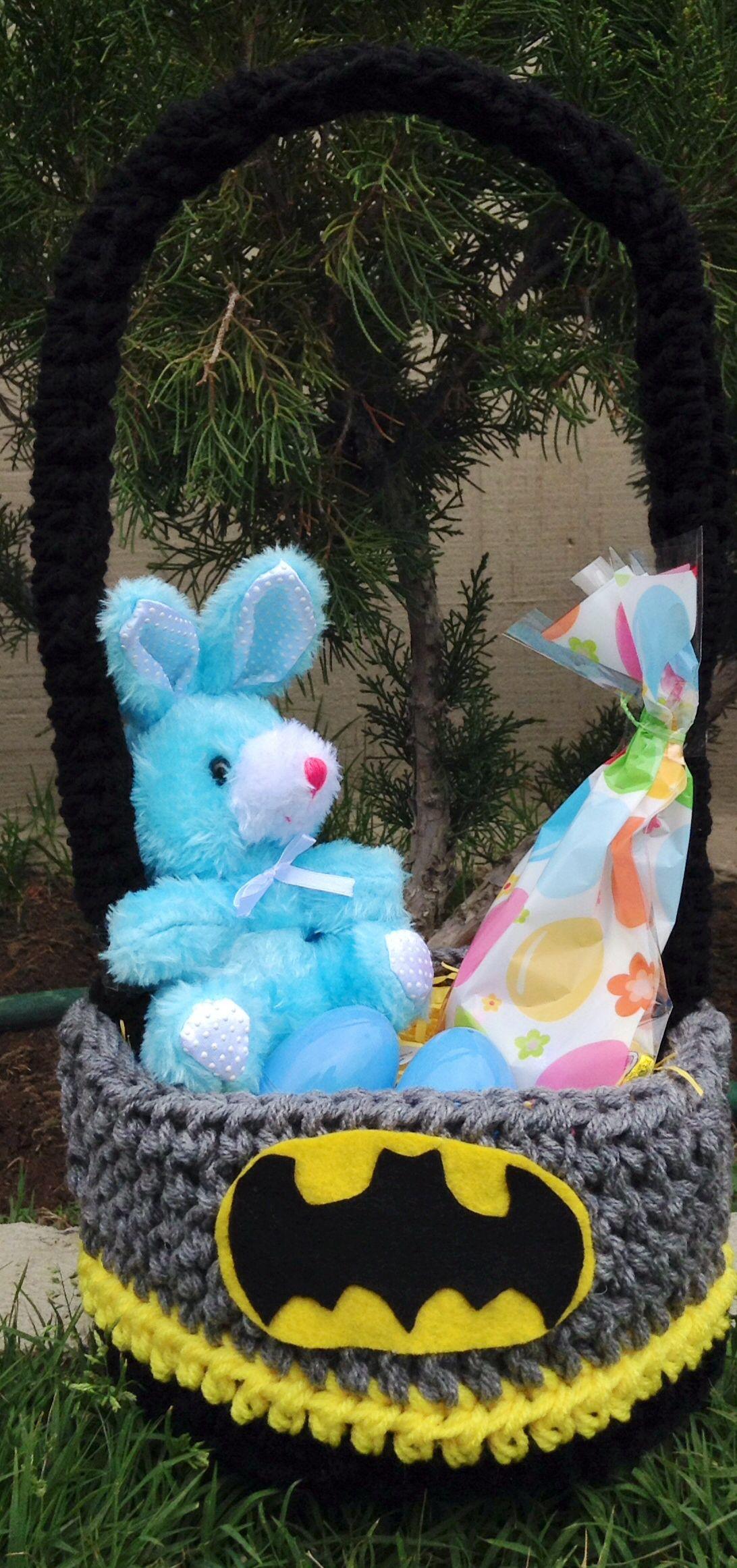 Batman Easter Basket sold on https://www.facebook.com/CrochetingSweetie