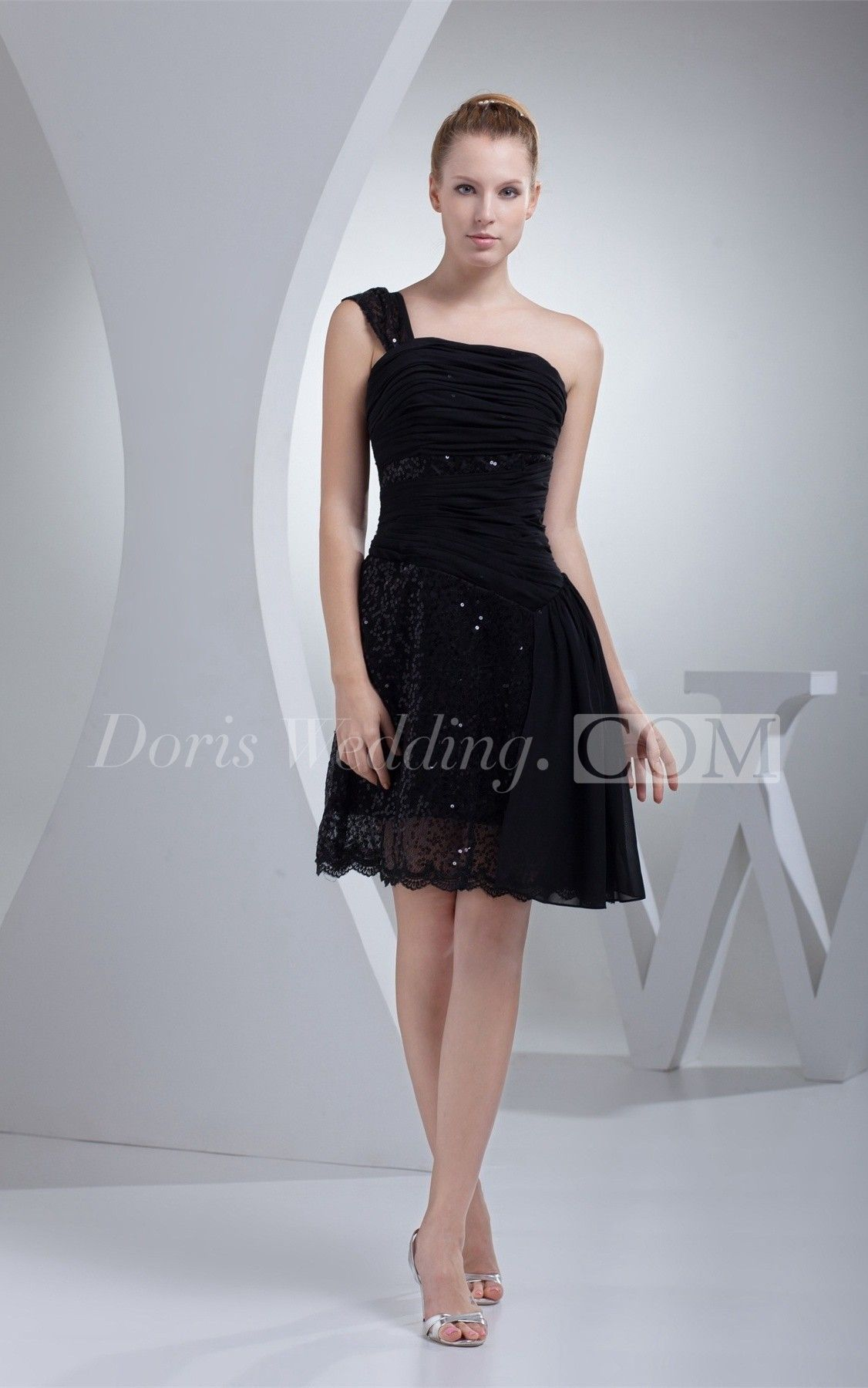 One Shoulder A Line Short Ruched Draping And Dress With Ruching Dresses Cheap Cocktail Dresses Lace Bridal Gown