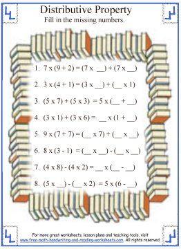 Addition Properties Distributive Distributive Property Math Worksheets Math Properties
