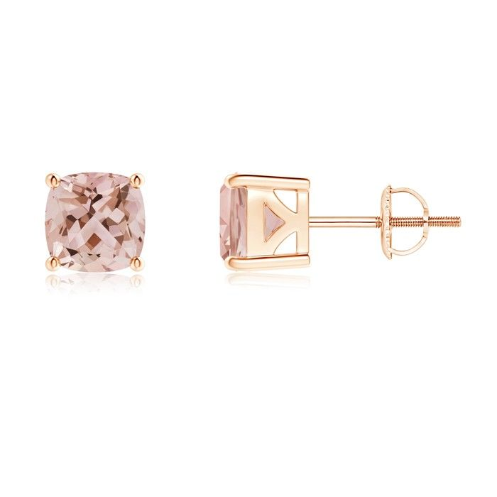 Angara Cushion Morganite Studs with Diamond Halo AVf9Gt
