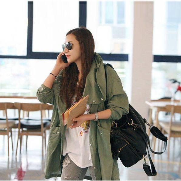 Click to Buy << New Hot Women Back Skull Army Green Jacket Skull