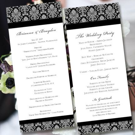 Wedding Program Template Black White Victorian Damask