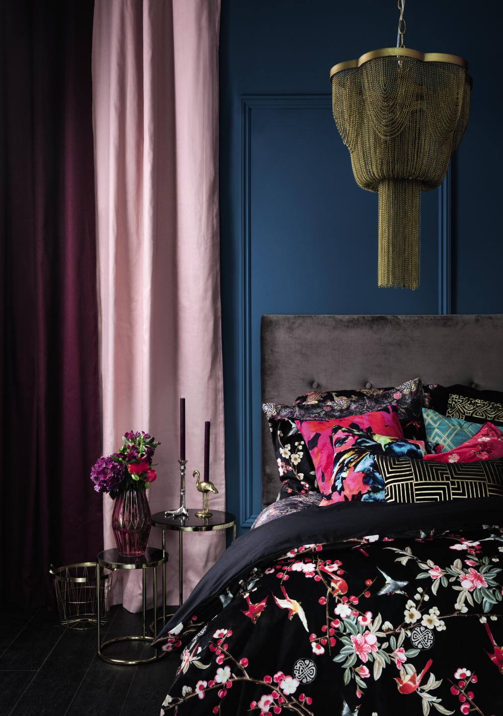 2bbcd4c661619 This feminine bedroom idea sees oriental, deco and bold floral print match  and clash in a glorious fusion of pattern and rich colour.